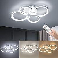Wayrank Lámpara de Techo Moderna con 3 Colores, 4 Anillo Luz LED con Función de…