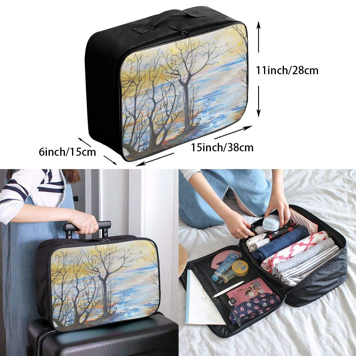 Travel Bags Vintage Flowers Portable Suitcase Trolley Handle Luggage Bag