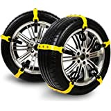 Qiilu 3pcs Tire Anti Skid Chains Anti-Skid Mud Ice Snow Tire Chain Winter Security Tyre Belt for Car Truck SUV Small