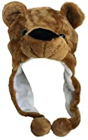 Plush Faux Fur Animal Critter Hat Cap - Soft Warm Winter Headwear - Short with Ear Poms and Flaps & Long with Scarf and Mittens available (Brown Bear - Short)