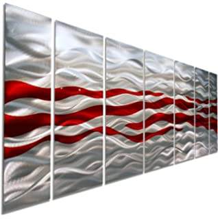 Amazon.com: Large Abstract Red Metal Wall Art Sculpture - Multi ...