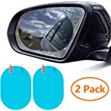 ZWOOS 2PCS Car Rearview Mirror Film, HD Nano Film Anti Fog Film Car Rear View Mirror Waterproof Film Protective Film Anti Glare Rain-Proof Anti Water Mist Protector for Car Mirrors (Oval)