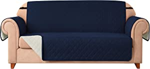 DyFun Sofa Slipcover Reversible Couch Cover Furniture Protector with Elastic Straps for Livingroom Non-Slip Washable Cover for Pets Kids Children (Loveseat,Navy)