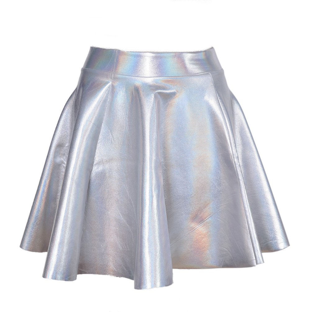 Lychee Holographic Hologram Shiny Metallic Silver Flared Pleated Skater Skirt Dress