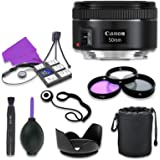 Canon EF 50mm f/1.8 STM Lens for Canon Digital SLR Cameras with 49mm Filter Kit (UV, CPL, FLD) + Accessory Bundle (12…