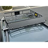 "HTTMT 43"" Universal Black Roof Rack Cargo Carrier w/Luggage Hold Basket SUV"