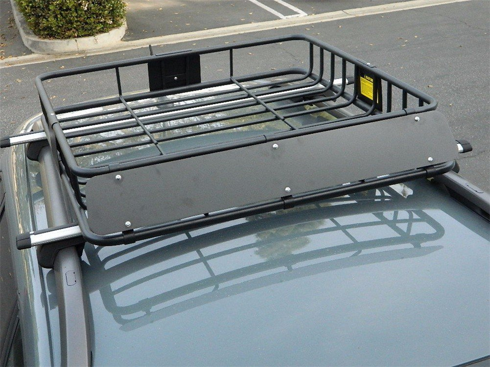 HTTMT 43' Universal Black Roof Rack Cargo Carrier w/Luggage Hold Basket SUV