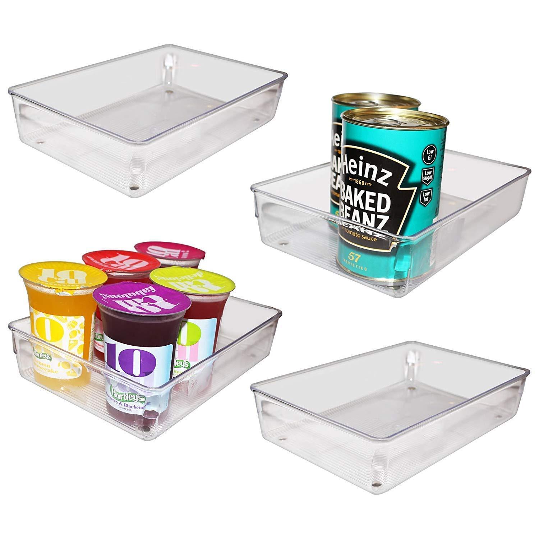 Kurtzy 4 Pack Refrigerador contenedor Congelador despensa refrescos cocina almacenamiento Heladera Organizadora para Guardar Vegetales Frutas, ...