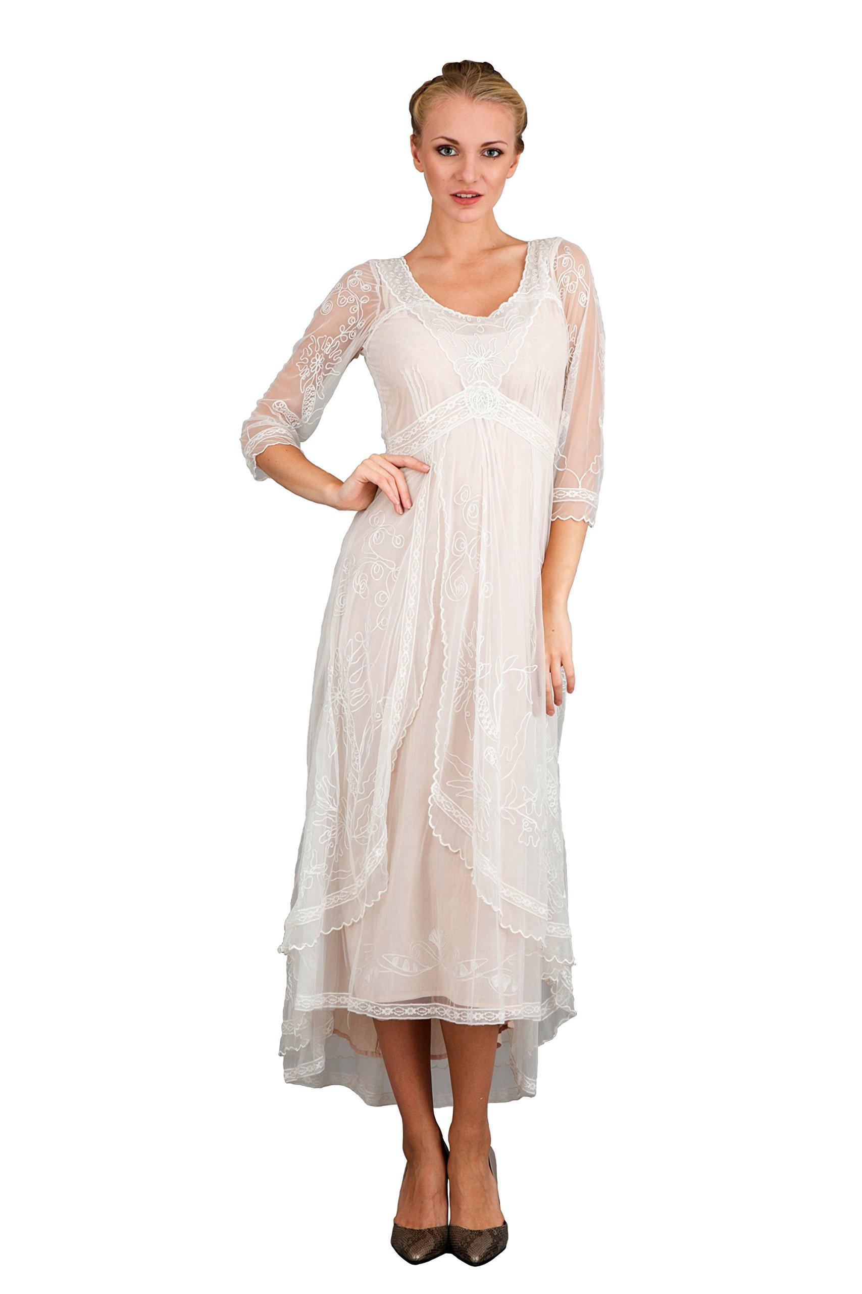 Nataya 40163 Women's Downton Abbey Style Wedding Gown in Ivory/Peach (Medium) by Nataya