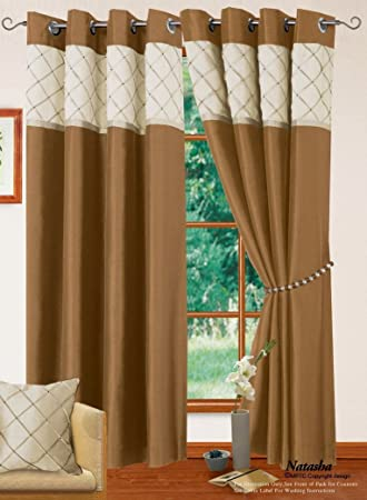 Living Room Curtains amazon living room curtains : LIVINGROOM BEDROOM CREAM NATURAL GOLD COLOUR RING-TOP EYELET ...