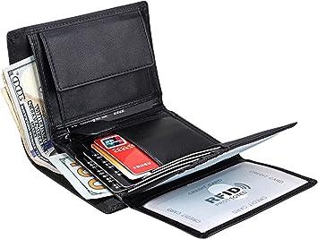 Genuine Leather Men Card Bill Photo Coin Holder Purse Trifold Short Wallet Black