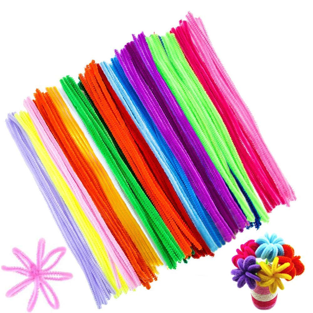 FOGAWA Pipe Cleaners 200 PCS Fuzzy Art Animal Fluffy Pipe Cleaners Bulk Craft Chenille Sticks Stems Colored Pipe Cleaner Colorful Assorted Colors Craft Stems Chenille Wire FJSM