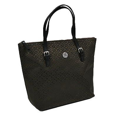 0a8b0012c52d90 Amazon.com: Tommy Hilfiger Zipper Tote Bag (Brown): Shoes