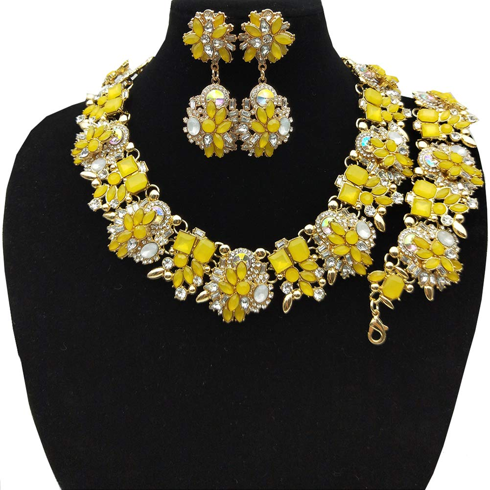 NABROJ Women Vintage Statement Necklace Bracelet Earrings Set Yellow, Bib Necklace for Women Novelty Jewelry 1pc with Gift Box-HLN001 Yellow 3pcs Set