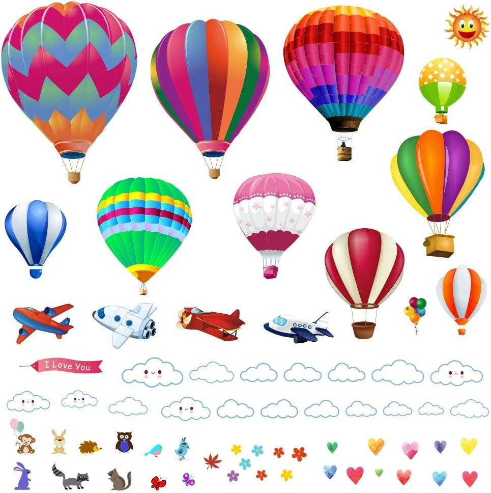 Wall Decals - Large Hot Air Balloon Stickers - Decorative Vinyl Peel and Stick Classroom Decorations Wall Art Mural for Children's Bedroom, Baby Nursery and Playroom - 49pcs