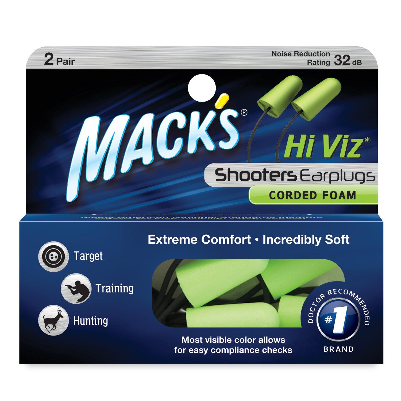 Macks Shooters Corded Foam Earplugs Kerman 2 Pair A.C LE MAC-4402