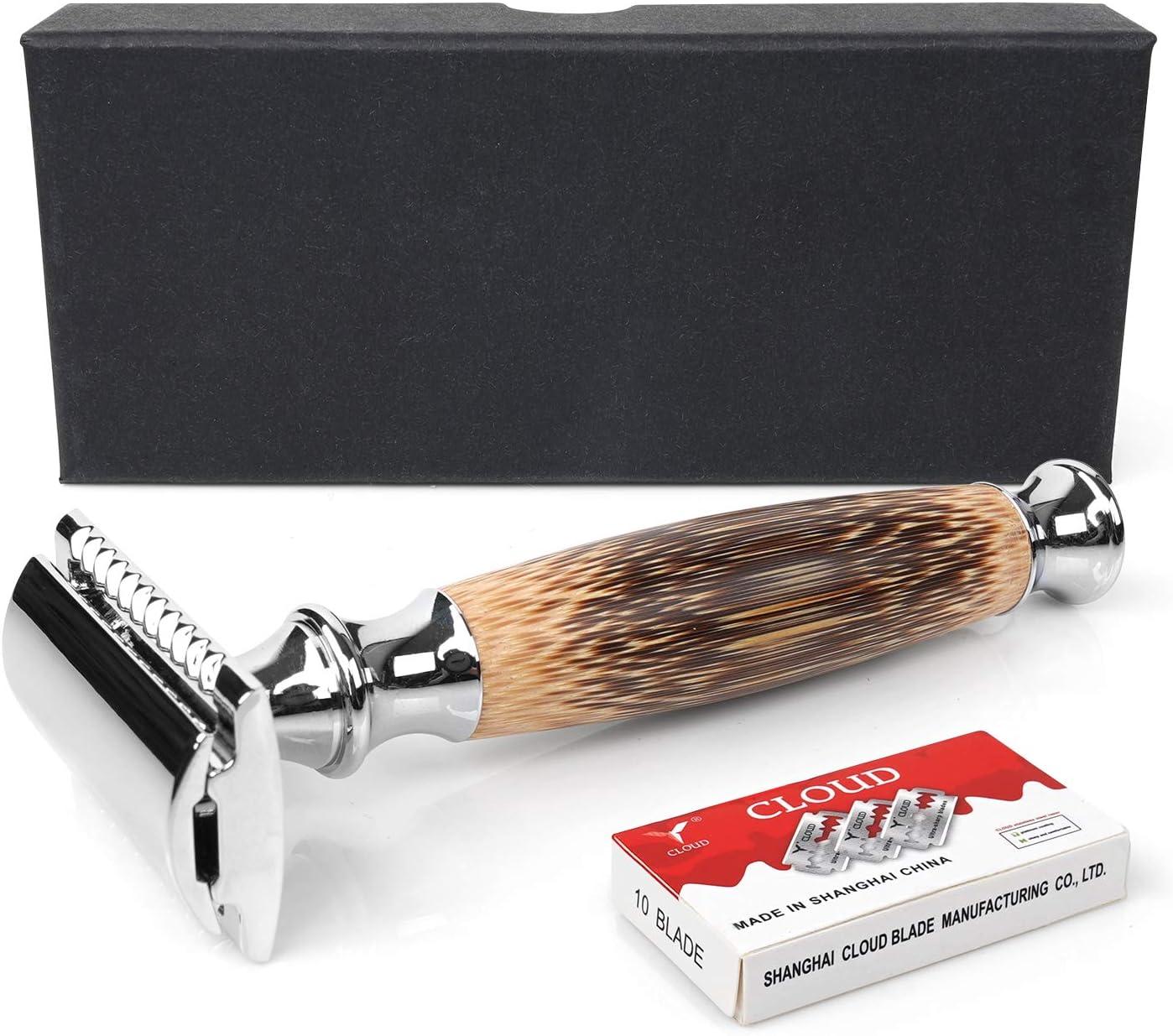 Maquinilla de afeitar de doble filo con mango de bambú (Negro ...