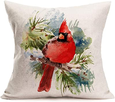 Asamour Cardinal Pillow Covers Watercolor Red Bird Sitting on The Tree Cotton Linen Throw Pillow Cushion Cover Spring Summer Decorative Pillows ...