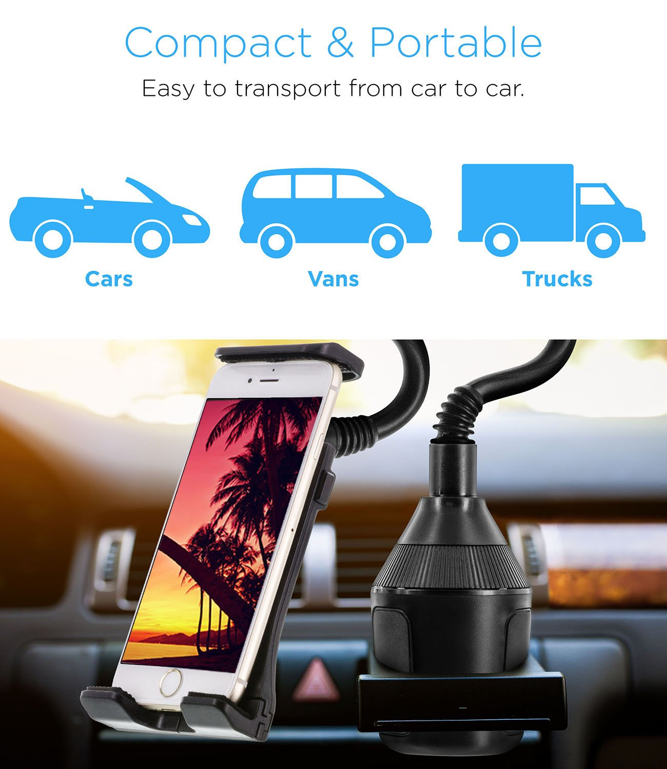 360/° Rotatable Cardle Phone Mount Cups Solid Grip Holders with Clamps Compatible for iPhone X MP3 Samsung Galaxy S9 and All Smartphones Xs Xs Max GPS etc Aduro U-Grip Cup Holder Phone Mount