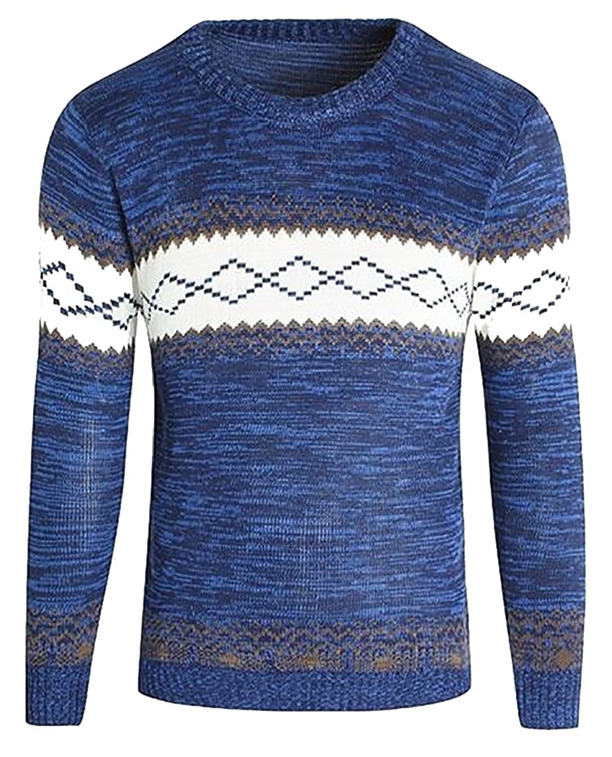 ainr Mens Autumn Contrast Color Crew Neck Casual Knitted Sweaters