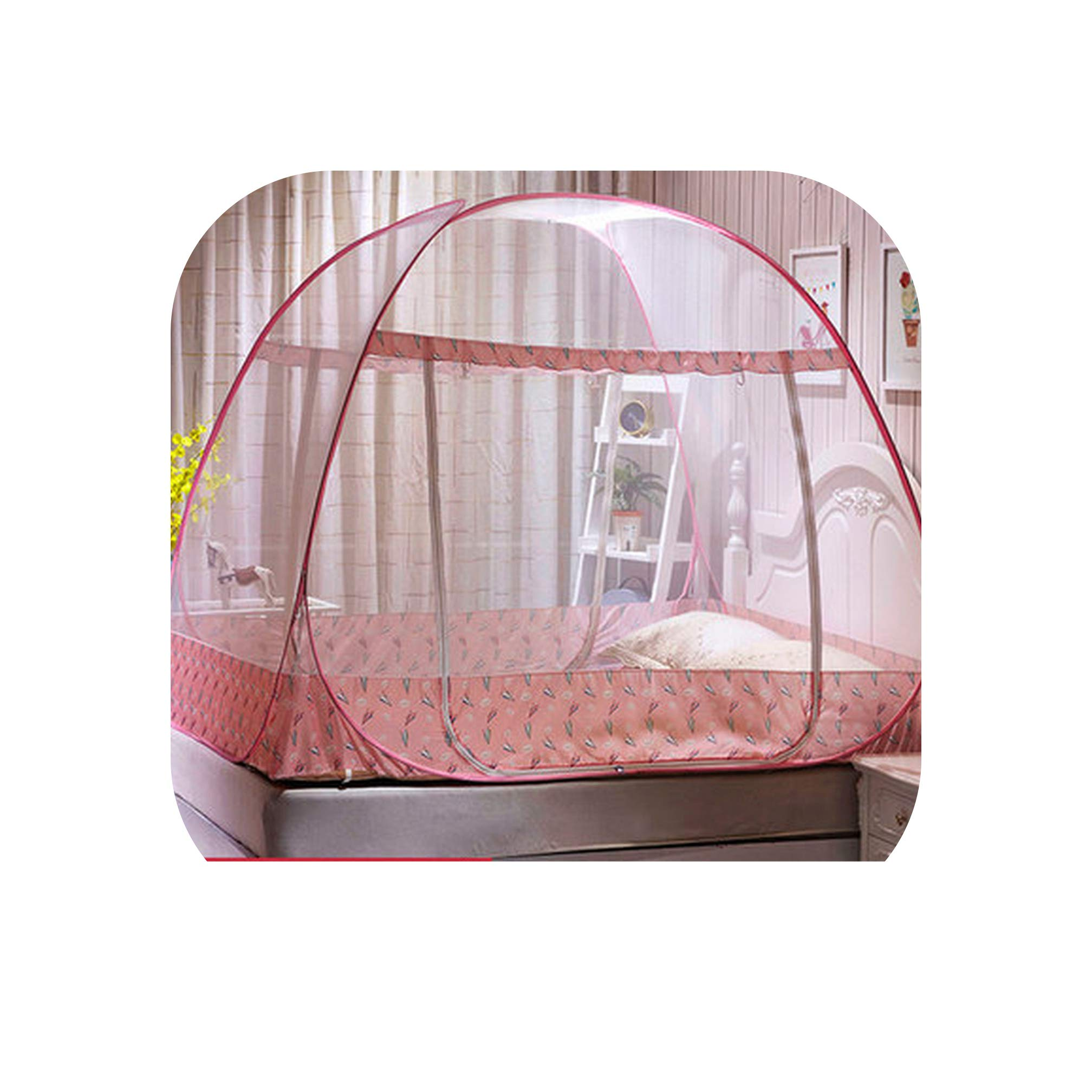 Portable Folding Mosquito Net Blue Double Bed Canopy Netting Insect Nets Adults Camp Bed Tent Kids Canopy Net,Pink,1.8m (6 feet) Bed