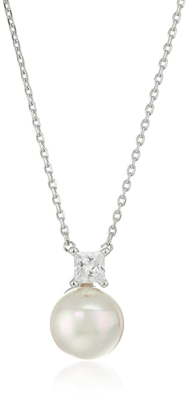 Majorica Cubic Zirconia & Pearly Cross Pendant Necklace RjssT