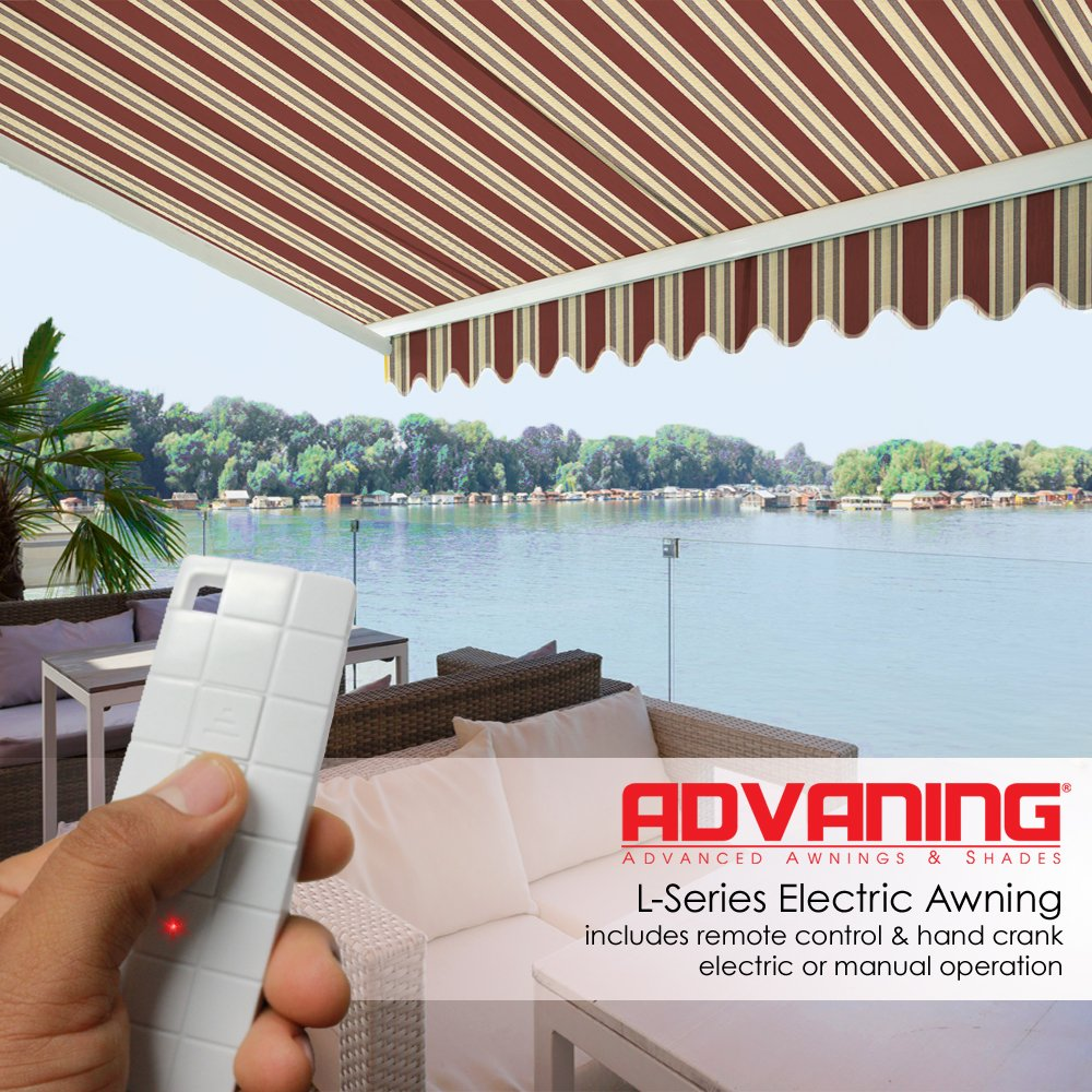 ADVANING 12'x10' Motorized Patio Retractable Awning | Luxury Series | Premium Quality, 100% Solution-Dyed European Acrylic UV Sun Shade, Color: Brick Red Stripes, EA1210-A430H2