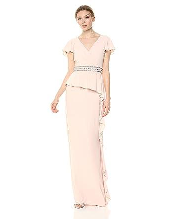 e4edc034387f Adrianna Papell Women's Draped Jersey Dress Cascading Ruffle On Skirt at  Amazon Women's Clothing store: