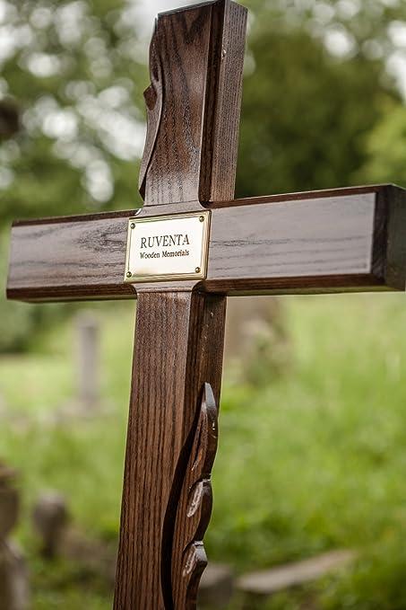 55 Solid Oak In Mahogany Wooden Memorial Cross Grave Marker