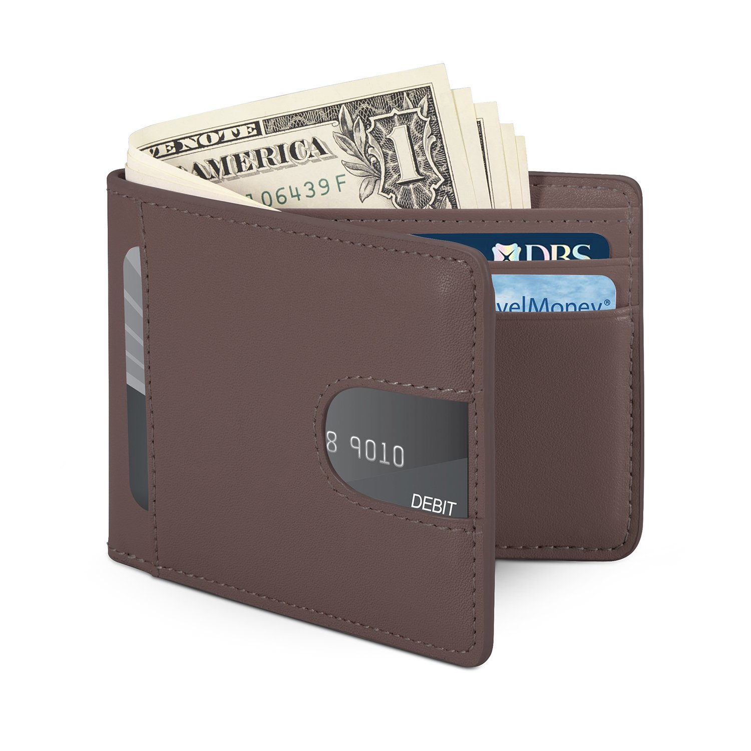 Men Minimalist Front Pocket Wallet RFID Blocking Billfold Slim Grained Leather Wallet for Credit Cards Holder and Cash-Coffee