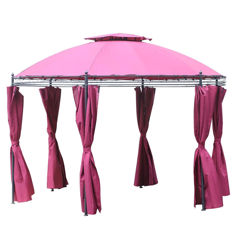 Outsunny Gazebo da Giardino Rotondo Doppio Tetto Pareti Rimovibili Poliestere /Φ350 cm Rosa