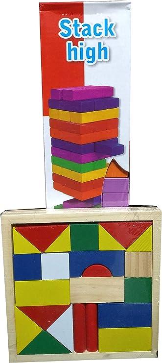 Stack High Torre De Madera De Colores 54 Piezas + Regalo Juguete Didáctico: Amazon.es: Juguetes y juegos