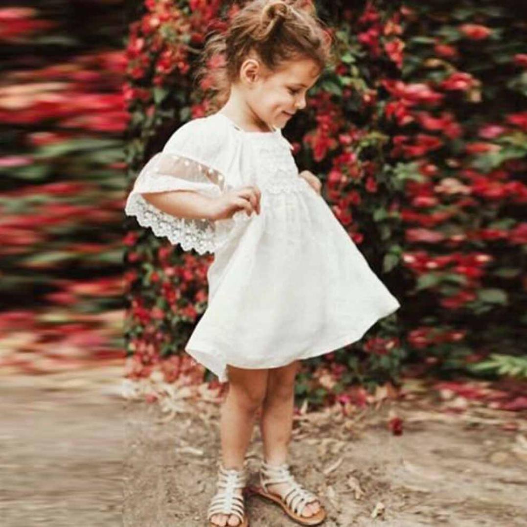 ❤️Elecenty M/ädchen Prinzessin Kleid,Kinder Spitzenkleid Strandkleid Schulterfrei Sommerkleid Maxikleid Festzug Baby Kurzarm Knielanges Kleider Kinderkleidung Partykleid T/üllkleid