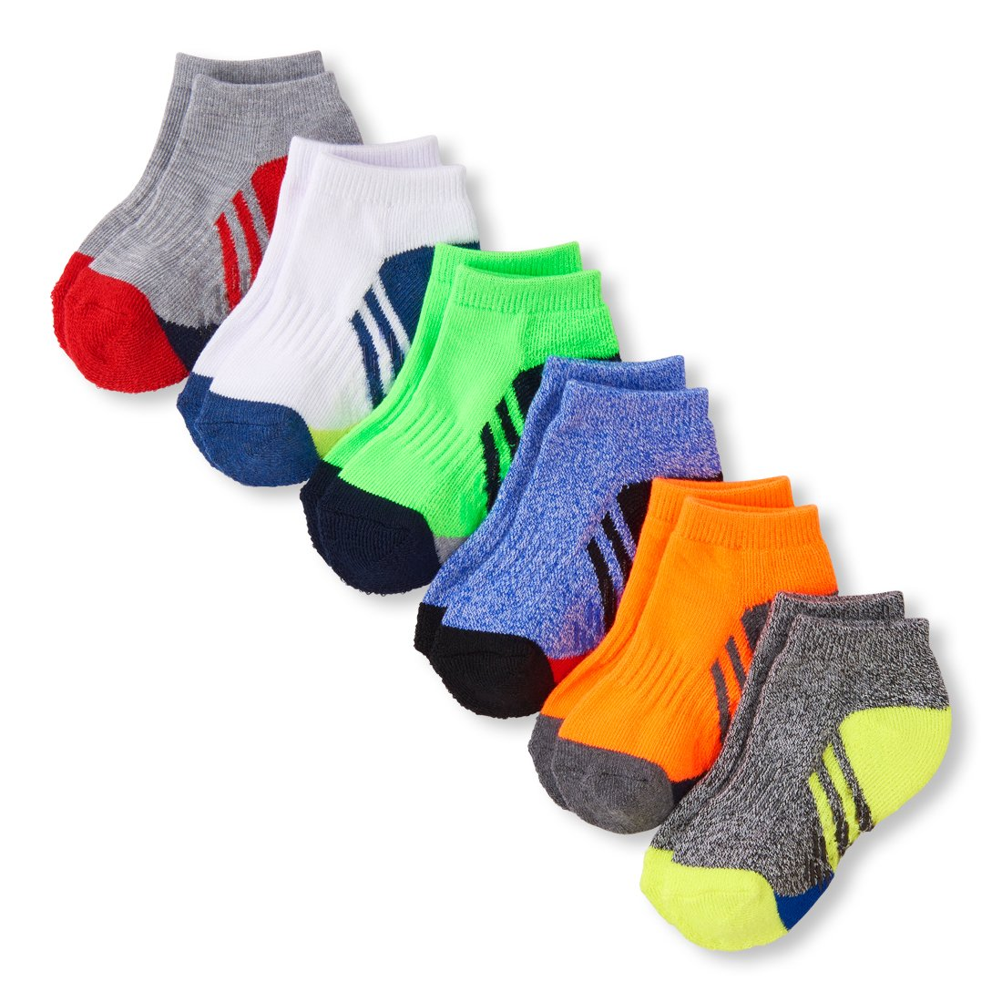 The Children's Place Baby Boys 6 Pack Ankle Sport Socks, Multi CLR, 12-24MONTH