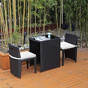 Ansley&HosHo 3-Piece Rattan Patio Set, Outdoor Wicker Bistro Set Dining Table with Glass Top and Cushioned Chairs Garden Furniture for Courtyard Yard Garden Porch Balcony All Weather, Black