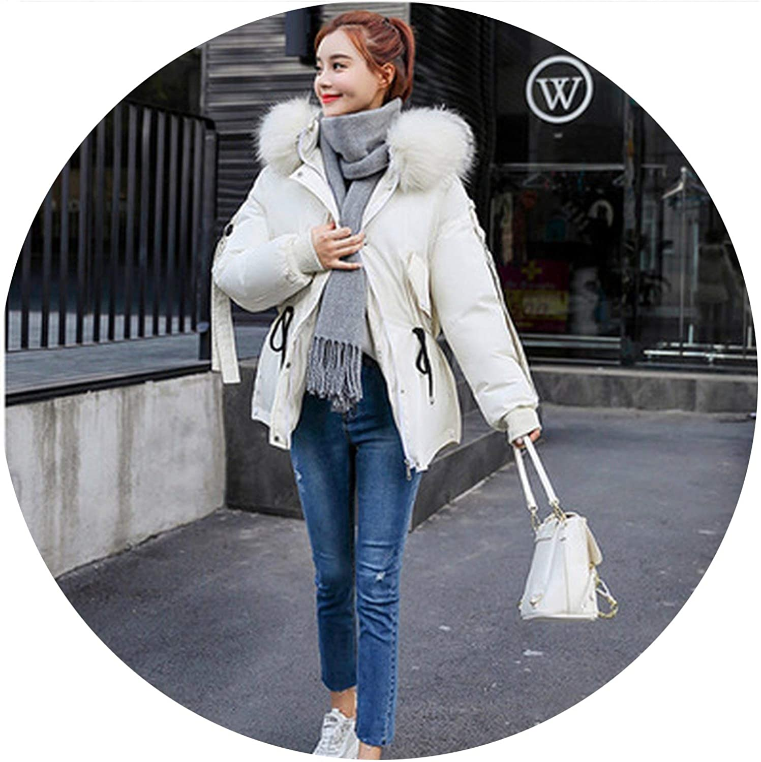 Thicken Long Sleeve Winter Female Warm Coat Loose Hooded Collar Womens Cotton Clothing CS
