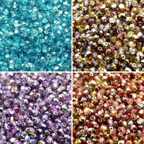 409 Glasses (400 beads 4 colors Unique Set 409 Czech Fire-Polished Faceted Glass Beads Round 4 mm, 4FP008, 4FP016, 4FP017, 4FP018)