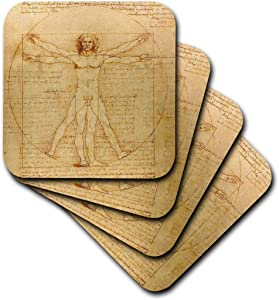 3dRose Vitruvian Man by Leonardo Da Vinci 1490 Fine Anatomical Art Human Anatomy Pen and Ink Drawing Ceramic Tile Coasters (Set of 4)