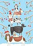 Entertaining with Caspari Christmas Dog Tower Christmas Cards, Box of 16