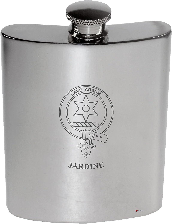 Jardine Family Crest 6oz Polished Pewter Kidney Flask