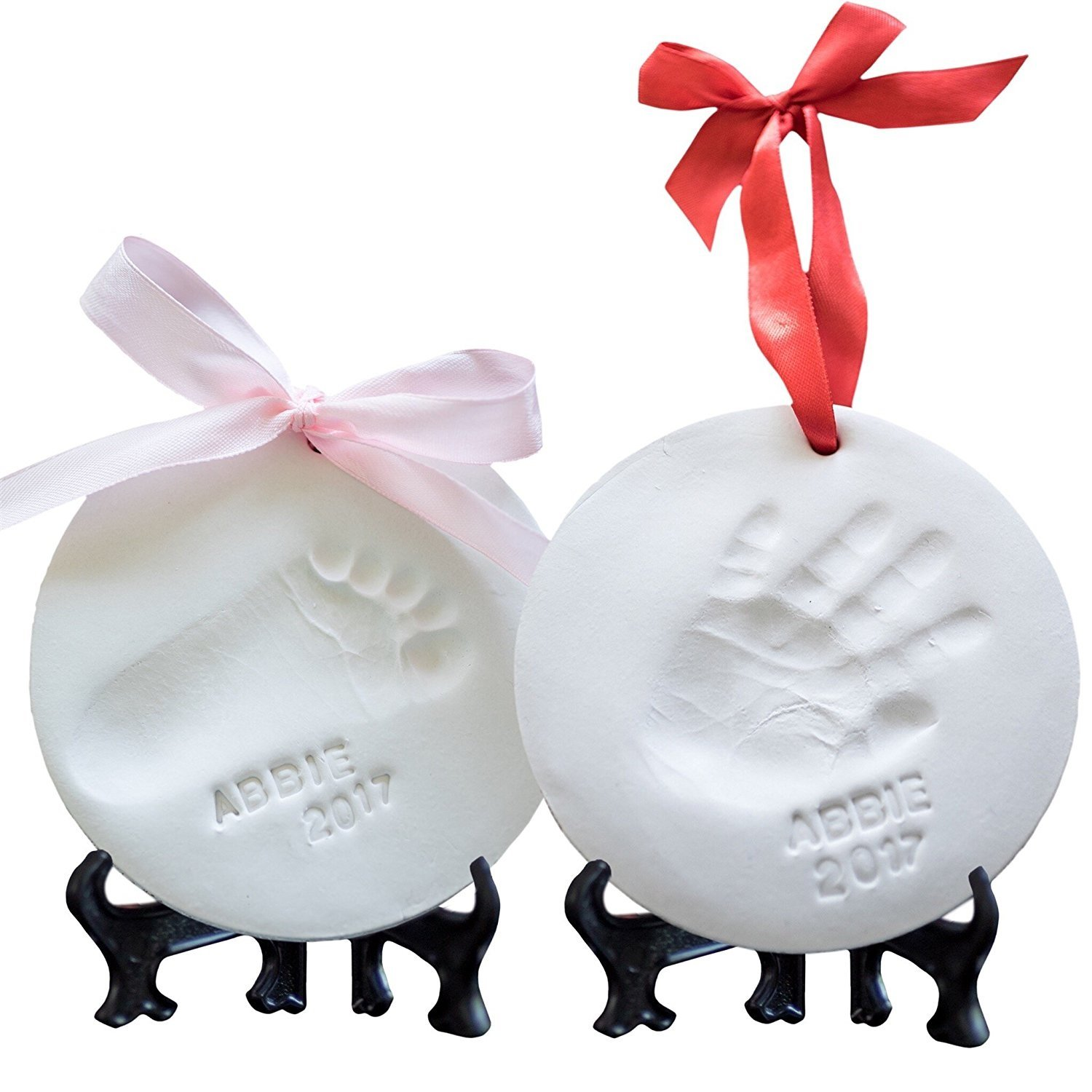 Baby Ornament Keepsake Kit (NEWBORN BUNDLE) 2 EASELS, 4 RIBBONS & LETTERS! Baby Handprint Kit and Footprint Kit, Clay Casting Kit for Baby Shower Gifts, Boys & Girls by Little Hippo