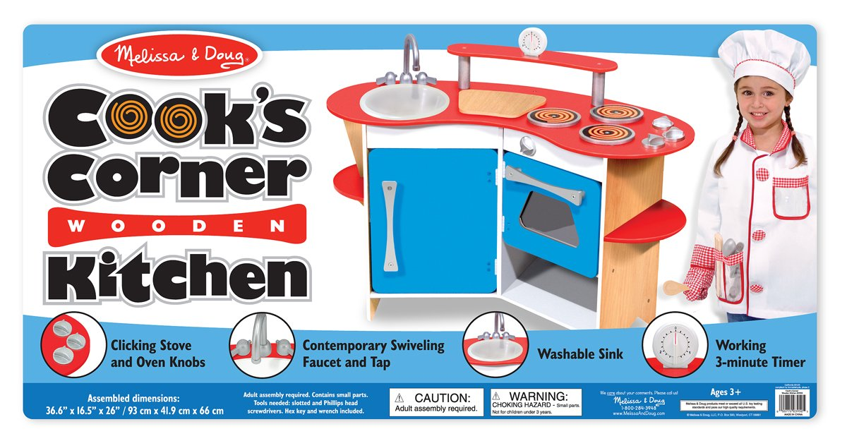 Melissa & Doug Cook's Corner Wooden Pretend Play Toy Kitchen by Melissa & Doug (Image #5)