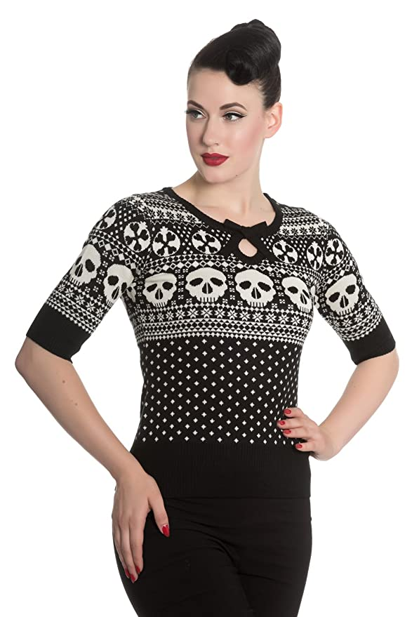 Hell Bunny Yule Skull Knitted Christmas Jumper Sweater Top At Amazon