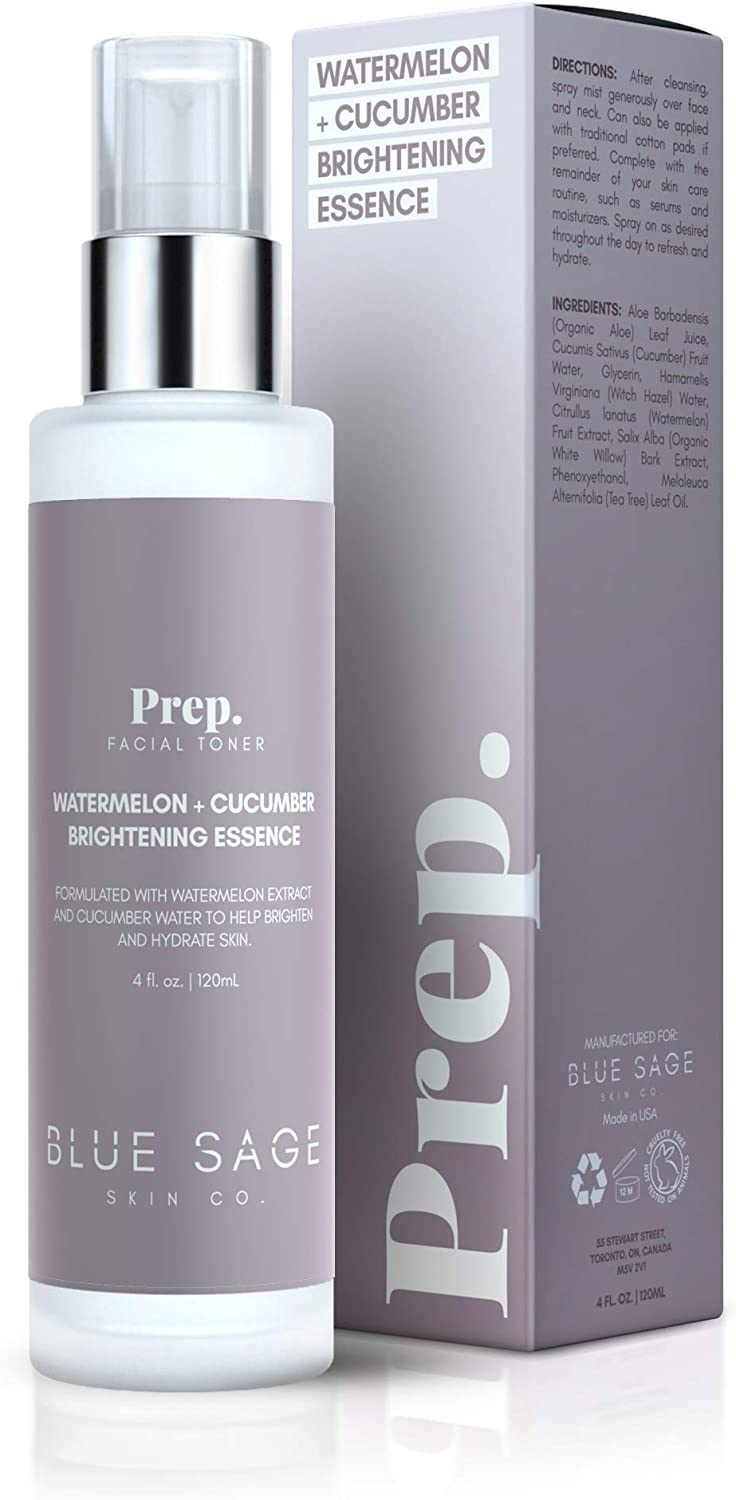 Blue Sage Watermelon + Cucumber Brightening Essence Facial Toner | Natural Face Mist with Witch Hazel to Even Complexion and Prepare Skin