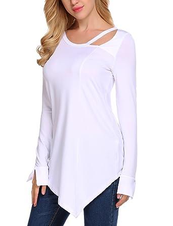 2412ec48ec2 Miageek Women's Cut Out Round Neck Asymmetrical Hem Tunic Tops Blouse Shirt  at Amazon Women's Clothing store: