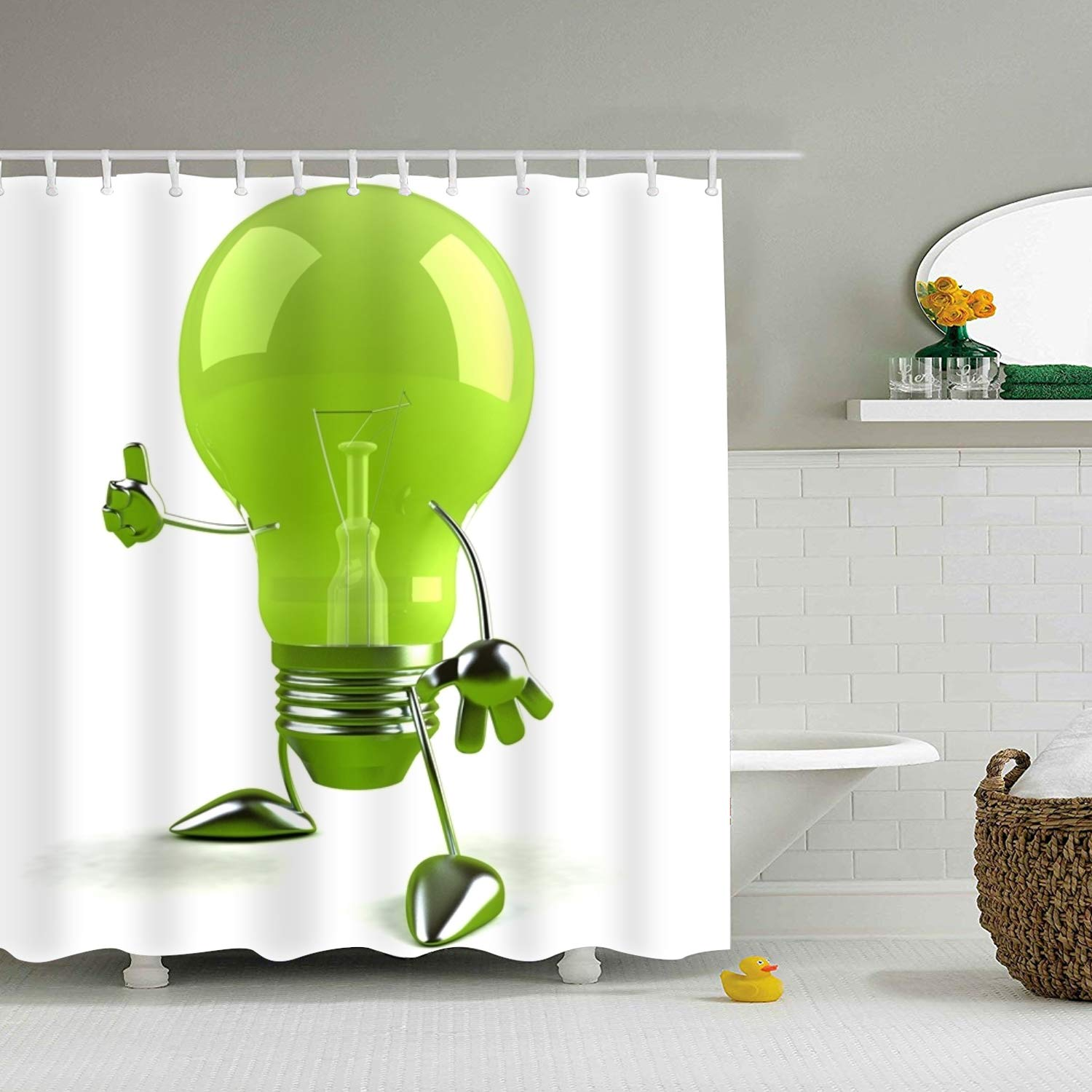 DOORM Creative Light Bulb Eco-Friendly Shower Curtain Water Repellent, Everyday Shower Curtain Liner Anti-Mildew