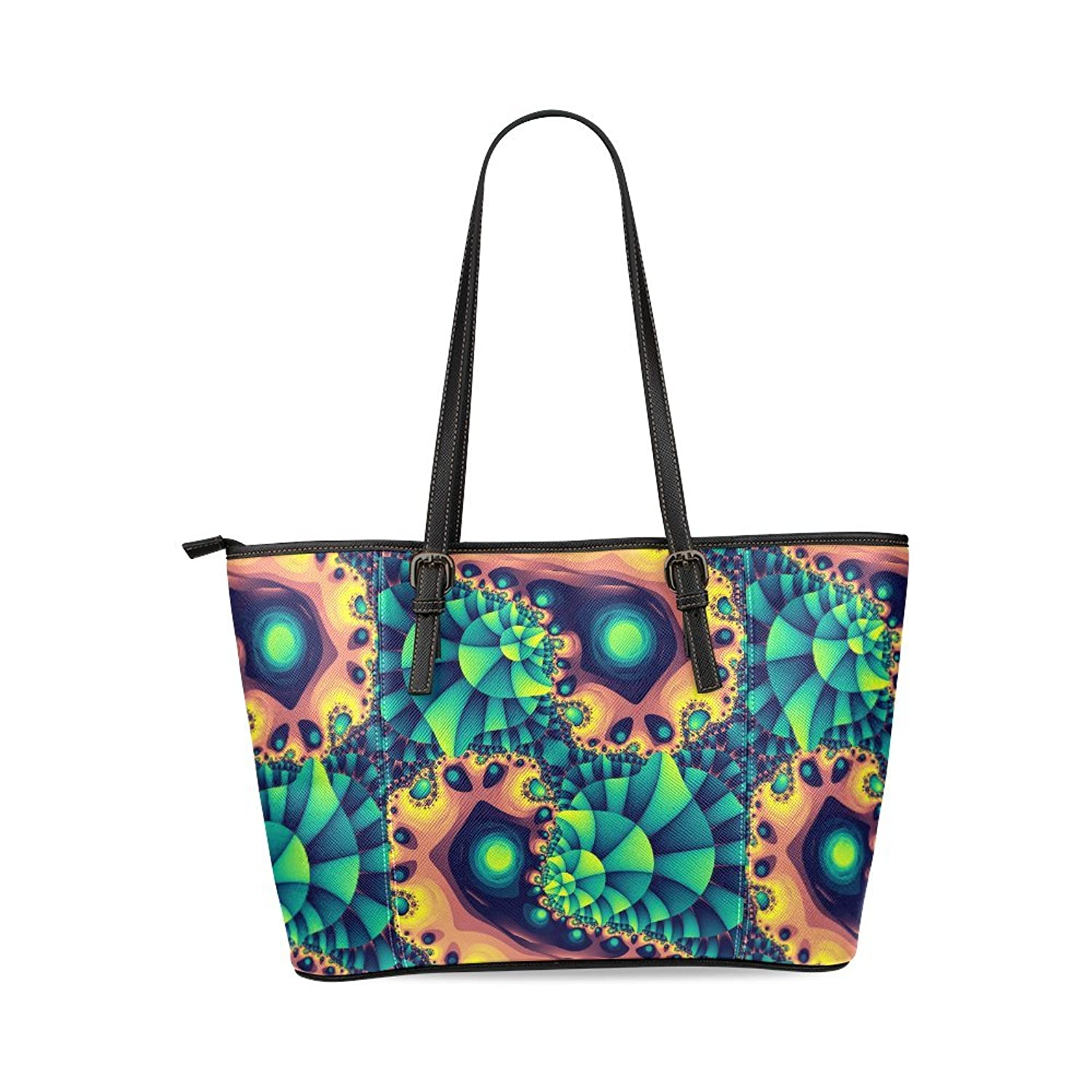 Abstract Fractal Colony Custom PU Leather Two-sided Printing Large Tote Bag/Handbag/Shoulder Bag for Fashion Women /Girls