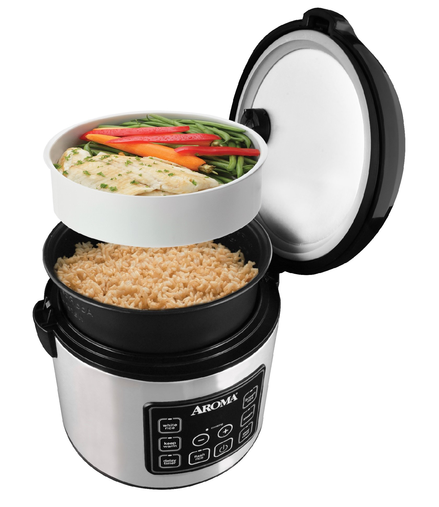 Aroma Housewares 20 Cup Cooked (10 cup uncooked) Digital Rice Cooker, Slow Cooker, Food Steamer, SS Exterior (ARC-150SB) by Aroma Housewares (Image #7)