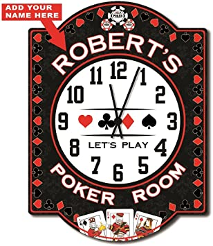 Poker Room Personalized Wall Clock From Redeye Laserworks