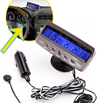 Spannungstester Sodial R 12v Lcd Car Digital Innen Aussen Thermometer Spannungstester Voltmeter Spannungsmesser Kfz Pkw Datum Uhr Alarm Schwarz Auto